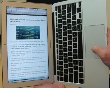 MacBook Airを縦に読む