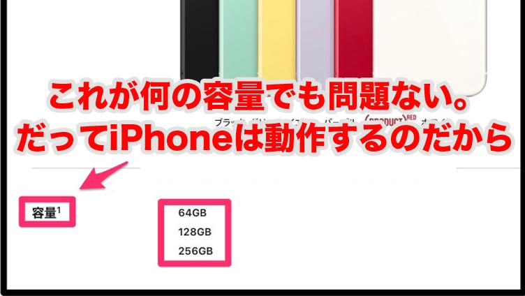iPhoneメモリー容量なんて知らなくて良い
