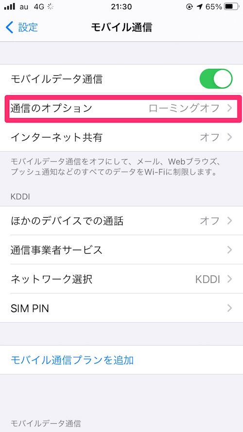 iPhoneモバイル通信オプション省データモード